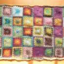 ウール。【1点限り】ウール・かぎ針編みのモチーフつなぎNO.1