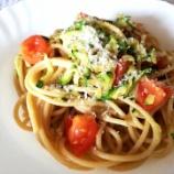 『新鮮なズッキーニとトマトのパスタ』の画像