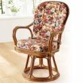 籐のカーブが美しい、ハイバック仕様の回転高座椅子。