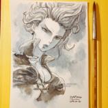 『【漆黒カウントダウン】FF14水彩絵「オメガ」【あと8日】』の画像