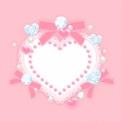 ピンク色のデコレーションハートフレーム