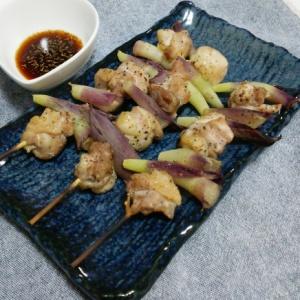 鶏とミョウガの串焼き