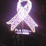 『ピンクリボンが後谷公園街角広場入口に光っています』の画像