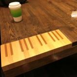 『【はまつークイズ】ピアノの鍵盤の細工が施されたテーブルがあるスタバはどこ?』の画像