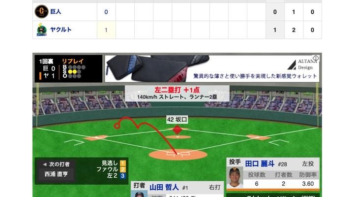【動画】巨人先発・田口、初回から3連打で2失点・・【巨0-2ヤ】