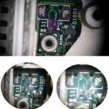 『 iBookG3 ロジックボードのとれてしまったスピーカーコネクタのハンダ付けと回路修復』の画像