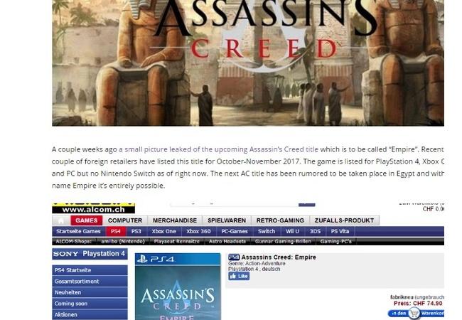 アサシンクリード最新作がリーク、『Assassin's Creed Empire』発売時期は10月と噂