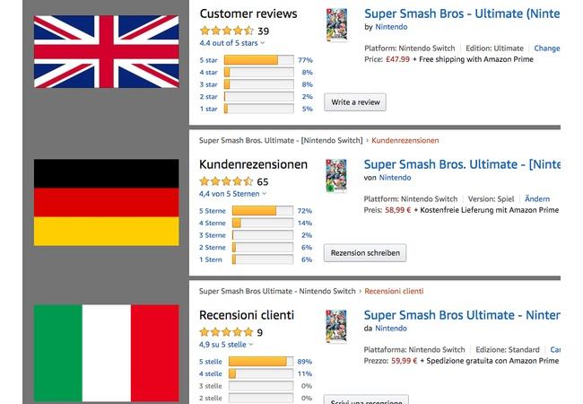スマブラSP、各国Amazonレビューを比較した結果