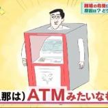 『【ATM】「結婚とは夫を¥にすること」という名回答が話題も、¥にならない夫が急増中の日本…』の画像