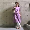 20200801 ラベンダー色のTシャツワンピ、トングサンダルに合わせたリラックスコーデ