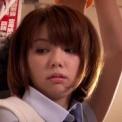 「希美まゆ」かわいい制服姿のJKが電車内で!!!後ろから美尻を触られ感じ出す!下からパンツをずらして指を中に入れられ強制手コキさせられる