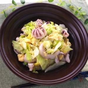 フワフワの食感で食べやすい♪キャベツとイカの卵炒め