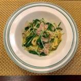 『水菜と豚しゃぶ肉の和風パスタ』の画像