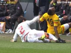 【 画像 】やりすぎ!? 日本代表・宇賀神、親善試合で激しすぎるタックル・・・