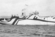 第一次大戦当時の幻惑迷彩を施された艦船