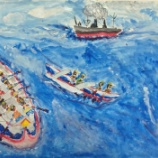 『4年図工「海洋教室の絵」一番の思い出はカヌー!』の画像