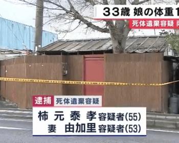 大阪・寝屋川で33歳の娘の遺体が見つかった事件、16-17歳の頃からプレハブに監禁、発見時は身長145cm体重19kg、1日1食で凍死 親による虐待と判明