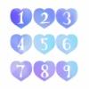手描き数字が白抜きされたハート素材 青