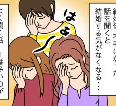 【漫画】結婚後、不幸になった話を聞くと結婚する気が・・・