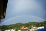 ピシャーっと綺麗なアーチ型の虹がでたみたい~9/1.夕方の雨上がり、交野の山と山を結ぶ橋~