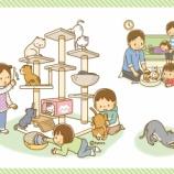 『【クリップアート】キャットタワーに登る猫と子どもたちのイラスト』の画像