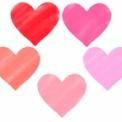 パステルクレヨン風のハートイラスト素材 赤~ピンク