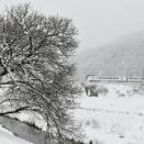 3月29日撮影 みどり湖にて、雪が降る中を行く「あずさ」より
