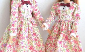 人形用の花柄ワンピースを手作り