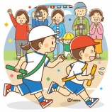 『【クリップアート】運動会・リレーをする子供と応援する家族のイラスト』の画像