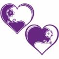 花モチーフの紫色ハート