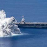 【動画】米海軍、空母「ジェラルド・R・フォード」の耐衝撃試験を公開!至近距離で爆発!