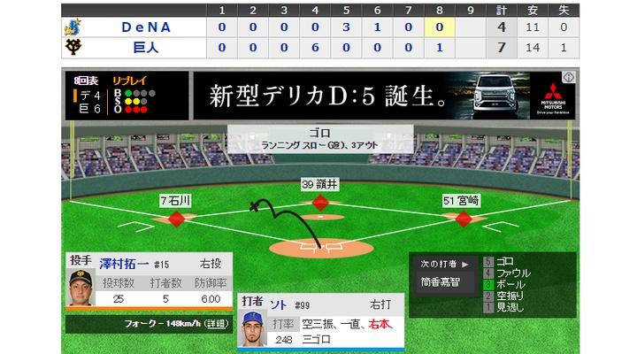 【  8回表 】巨人・澤村、2アウト満塁のピンチを切り抜ける!