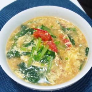 小松菜とトマトの玉子スープ