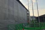 足場ができてる。武道館の壁面工事が進んでる!〜地震で天井パネルが落ちてたところ〜
