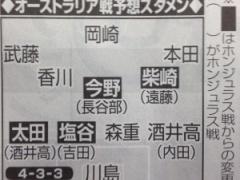 【スポニチ】日本代表、オーストラリア戦スタメン予想!真ん中は香川、柴崎、今野の3人!