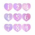 手描き数字が白抜きされたハート素材 ピンク