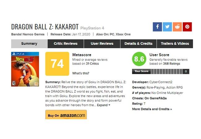 【悲報】ドラゴンボールZ: KAKAROT、メタスコア75に落ちる。なぜ・・・