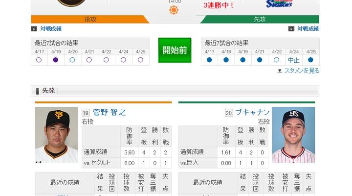 【 巨人実況!】vs ヤクルト(4回戦)!先発は菅野!14:00~
