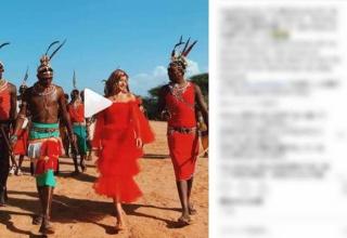 """【芸能】ローラ、ケニアの部族を""""真っ赤なドレス姿""""で訪問して世間は失笑!"""