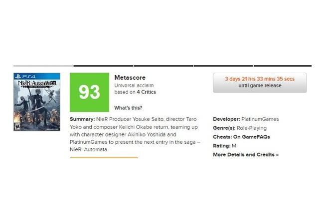 【ニーア オートマタ】メタスコア93点の評価で製作者も驚くwwww