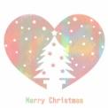 フリーイラスト素材 クリスマスツリーのシルエットハート