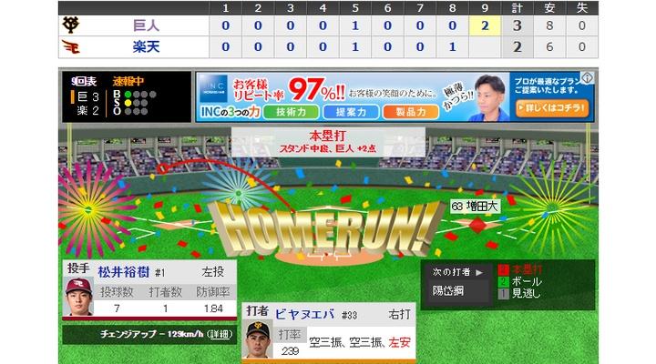 【 動画 】< 巨人×楽天 9回表 > ビヤヌエバが逆転の2ランホームラン![巨3-2楽]
