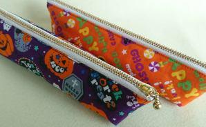 ハロウィーン柄の布で作ったペンケース