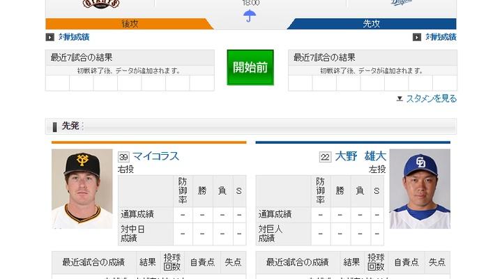 【 開幕戦!】vs中日!スタメン発表!先発はマイコラス!3番坂本・4番阿部・5番マギー!18:00~