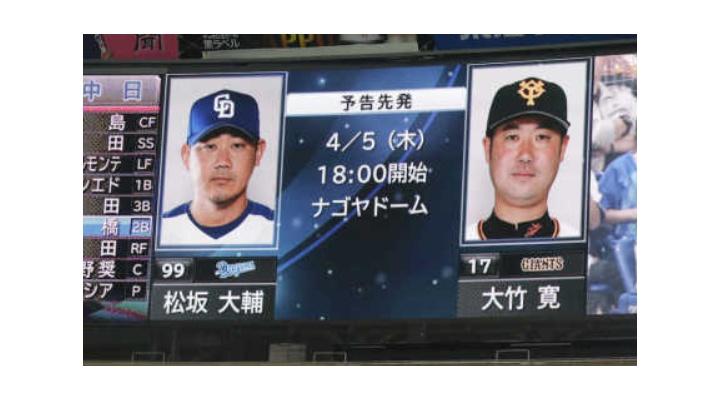 【 中日 】本日の松坂大輔×大竹寛の試合でありそうなこと【 巨人 】