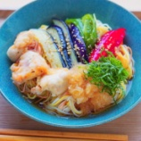 『素揚げ野菜の大根おろし掛けソーメンランチ』の画像