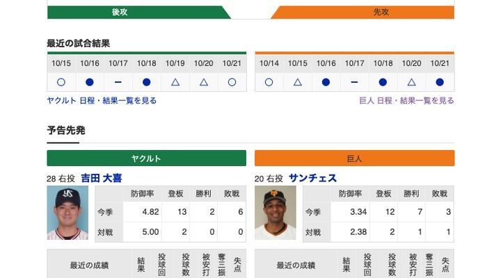 【巨人実況!】vs ヤクルト(19回戦)![10/22] 先発はサンシェス!捕手は炭谷!