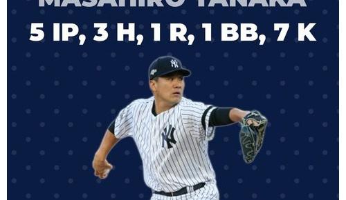 田中将大が5回7奪三振の好投で地区シリーズ2連勝に貢献(ヤンキースファンの反応)