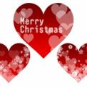 メリークリスマスの文字が入った真っ赤なハート素材