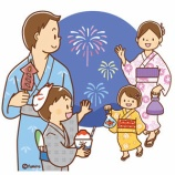 『【クリップアート】夏祭りの家族のイラスト』の画像